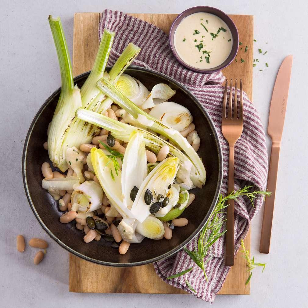 Abbildung des Rezepts Lauch-Fenchel-Bohnen-Salat mit Caesar-Dressing