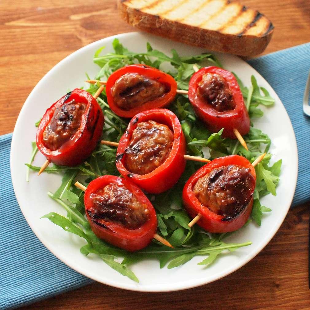 Zobrazit Grilované paprikové kroužky s mletým masem receptů
