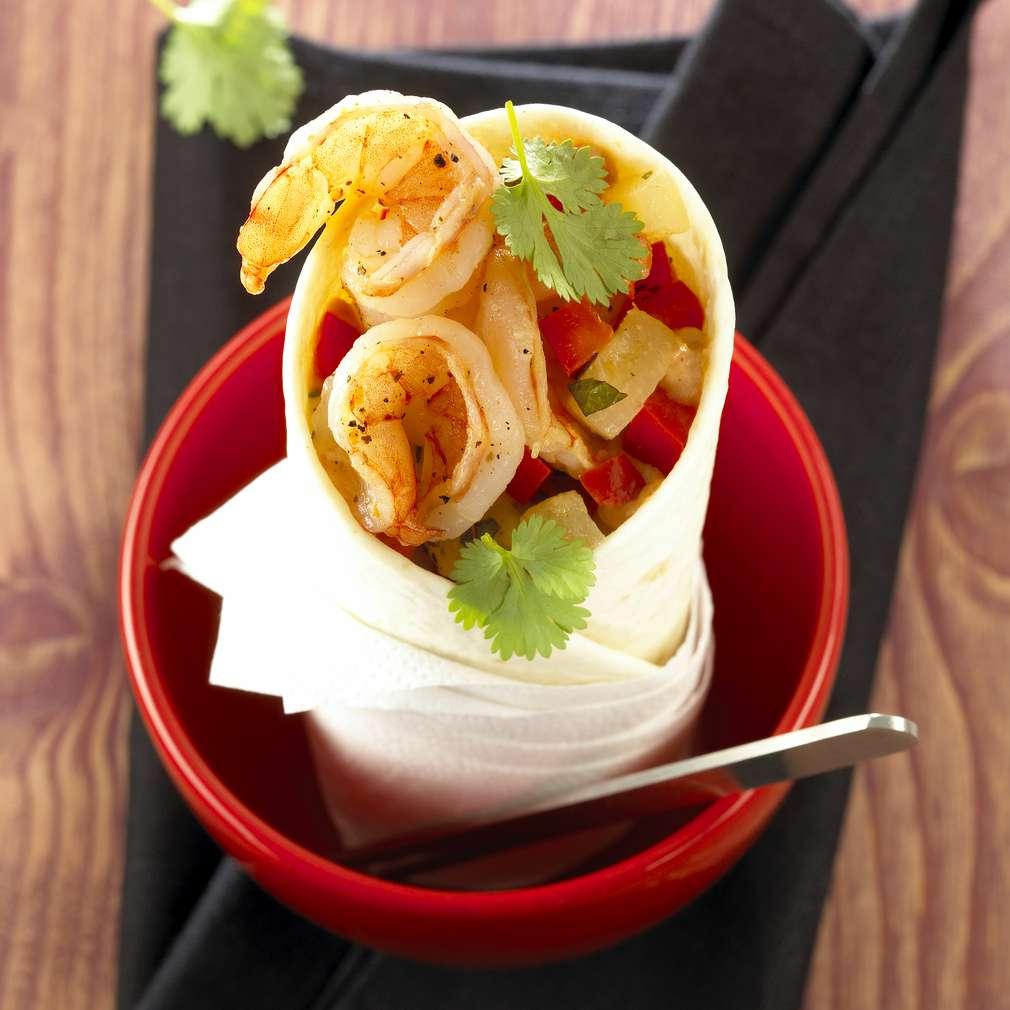 Zobrazit Krevetový wrap s ananasem receptů