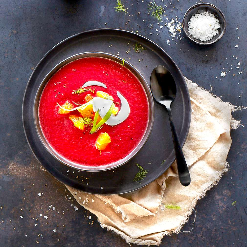 Imaginea rețetei Supă de sfeclă roșie cu portocale