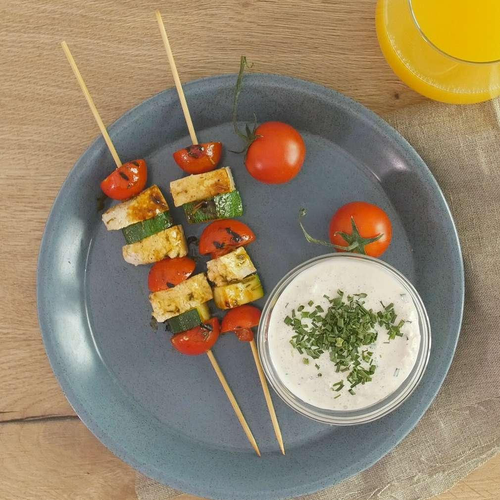 Fotografija recepta Ražnjići od tofua i tikvica
