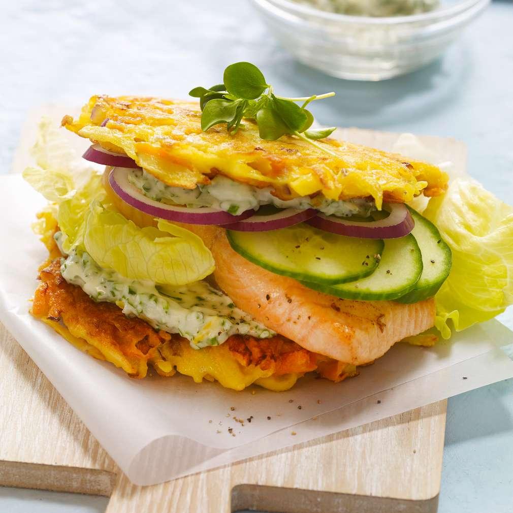 Abbildung des Rezepts Lachs-Rösti-Burger