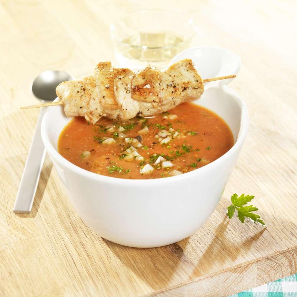 Zobrazit Kuřecí špízy s hustou polévkou se žampiony receptů