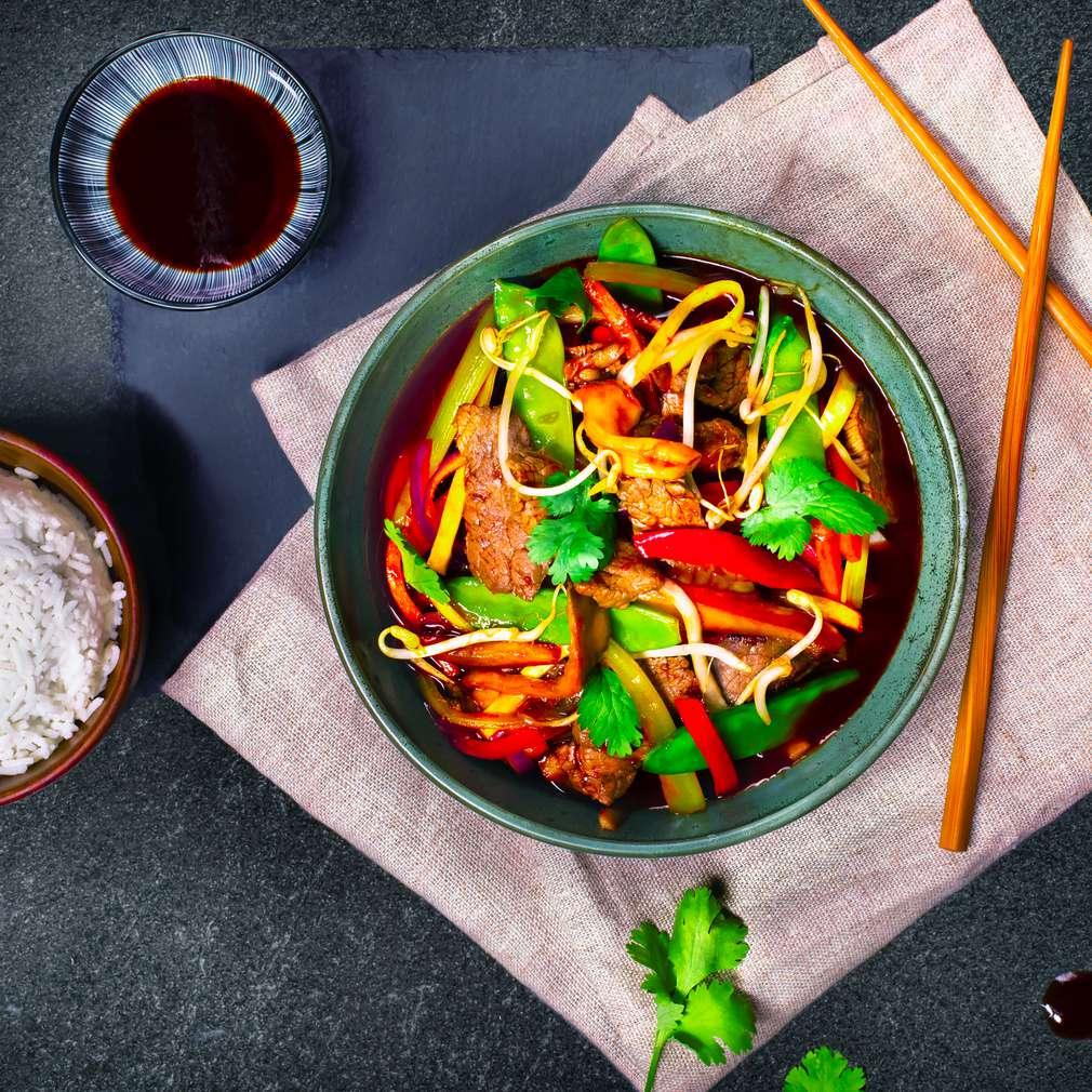 Abbildung des Rezepts Gemüse-Wok süßsauer mit Rind