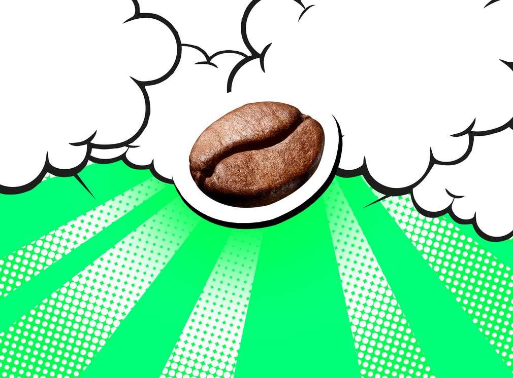Ziarno kawy na kolorowym tle