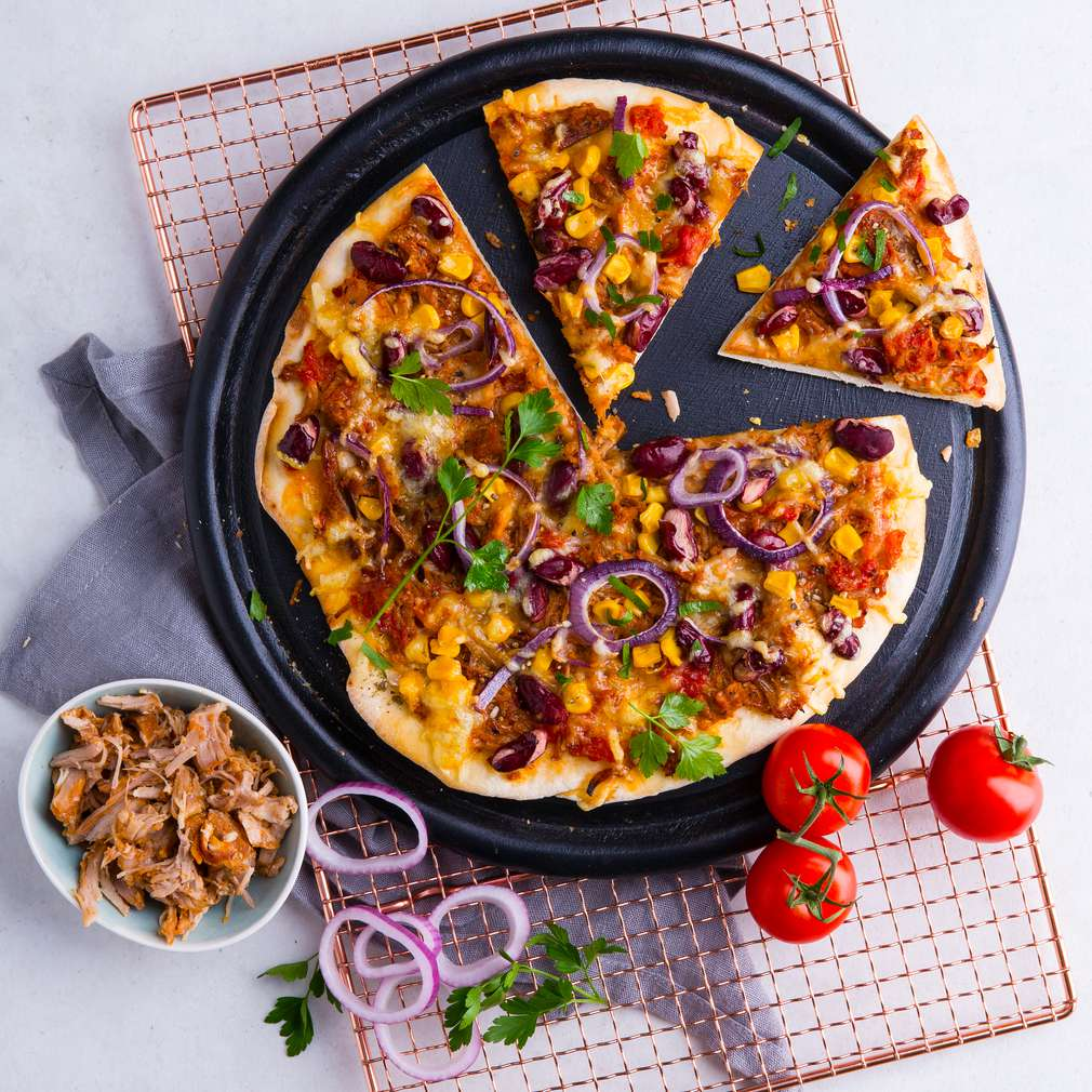 Abbildung des Rezepts Pulled-Pork-BBQ-Pizza