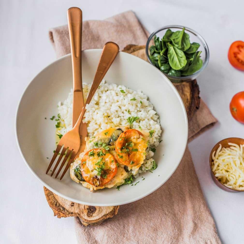 Zobrazenie receptu Zapečené kuracie prsia s paradajkou a špenátom