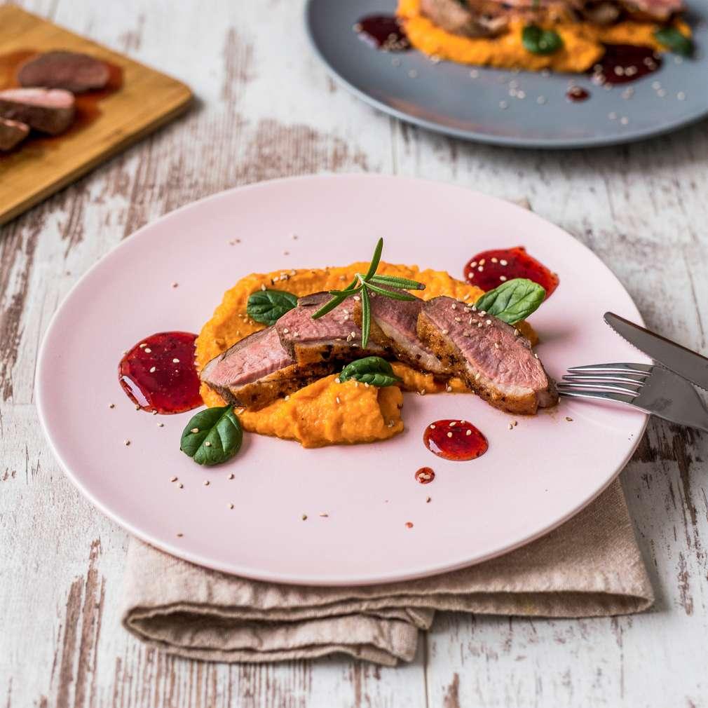 Zobrazenie receptu Kačacie prsia s mrkvovým pyré