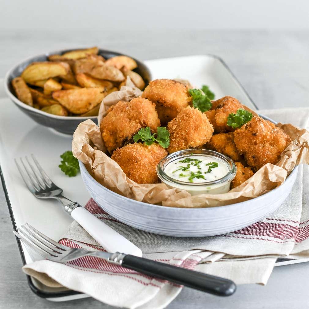 Zobrazenie receptu Vyprážaný karfiol v cestíčku s pečenými zemiakmi a dresingom