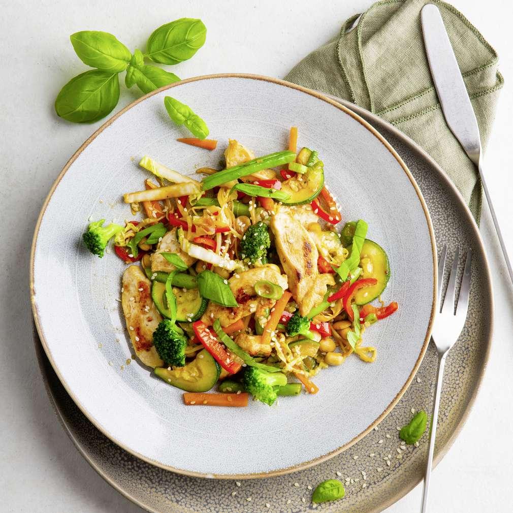 Abbildung des Rezepts Hähnchenpfanne mit Gemüse aus dem Wok