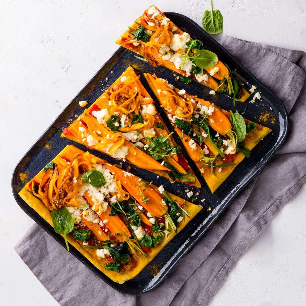 Abbildung des Rezepts Möhrenpizza mit Spinat