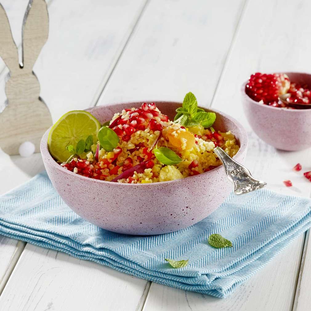 Abbildung des Rezepts Lauwarmer Bulgur-Gemüsesalat mit Granatapfelkernen