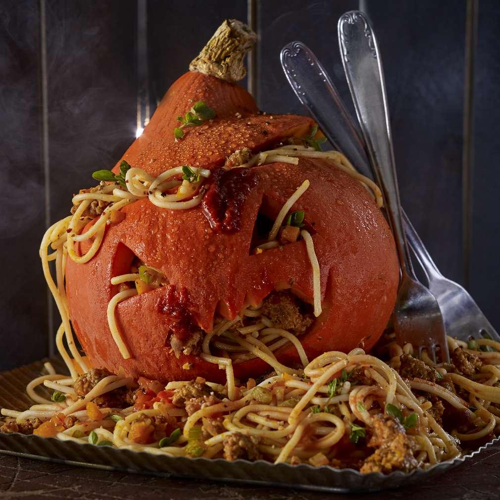Abbildung des Rezepts Spaghetti-Kürbis-Kopf
