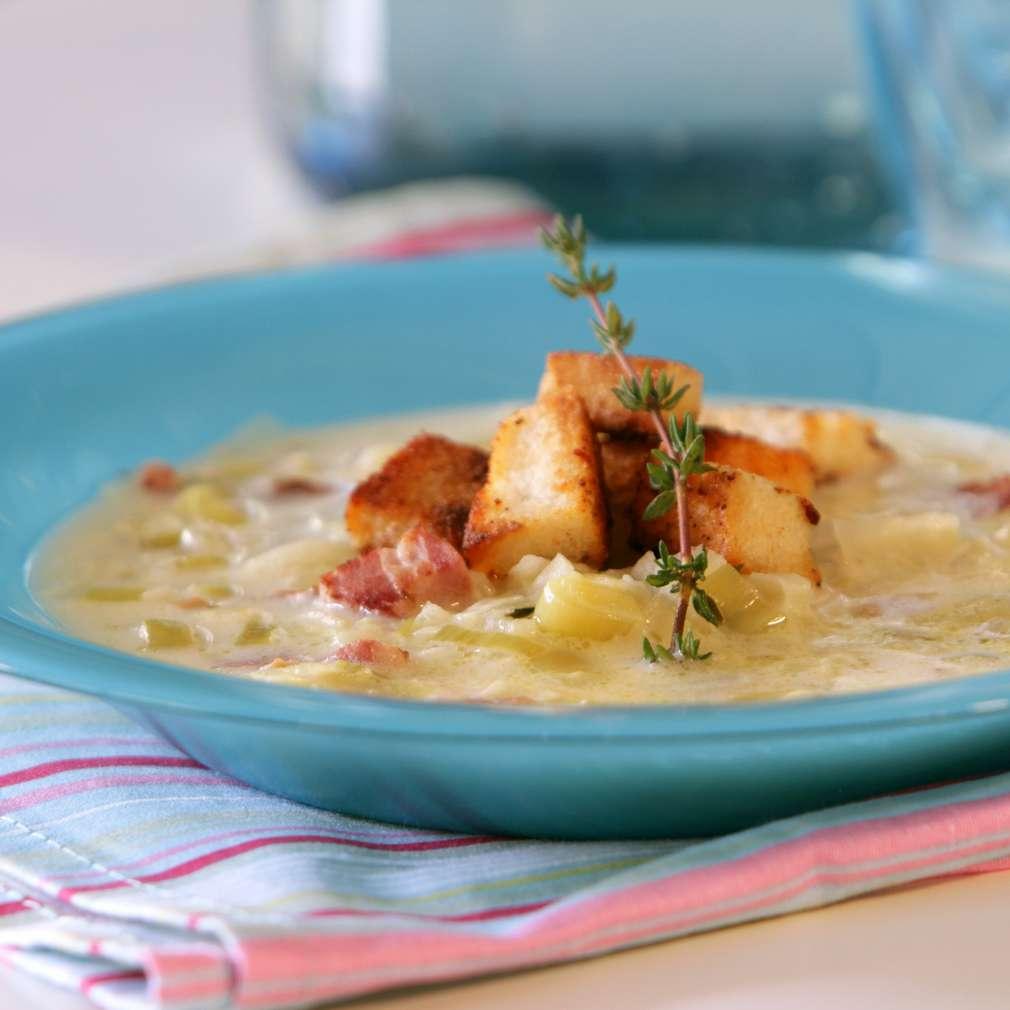 Изобразяване на рецептата Супа от праз с бекон