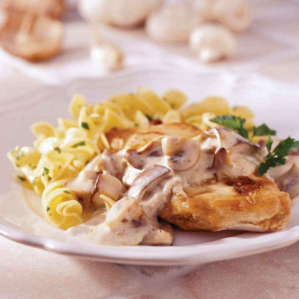 Imaginea rețetei Pui cu sos de ciuperci