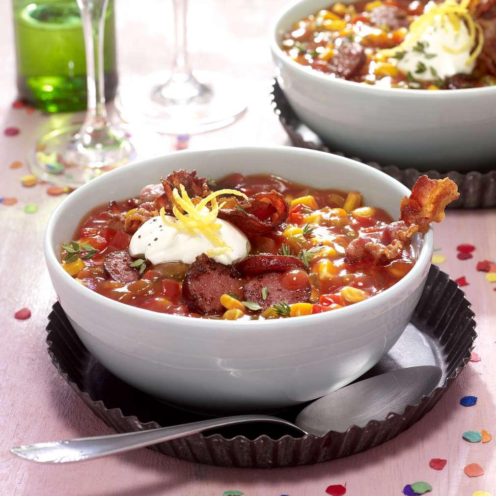 Abbildung des Rezepts Konfetti-Suppe mit Baconchips