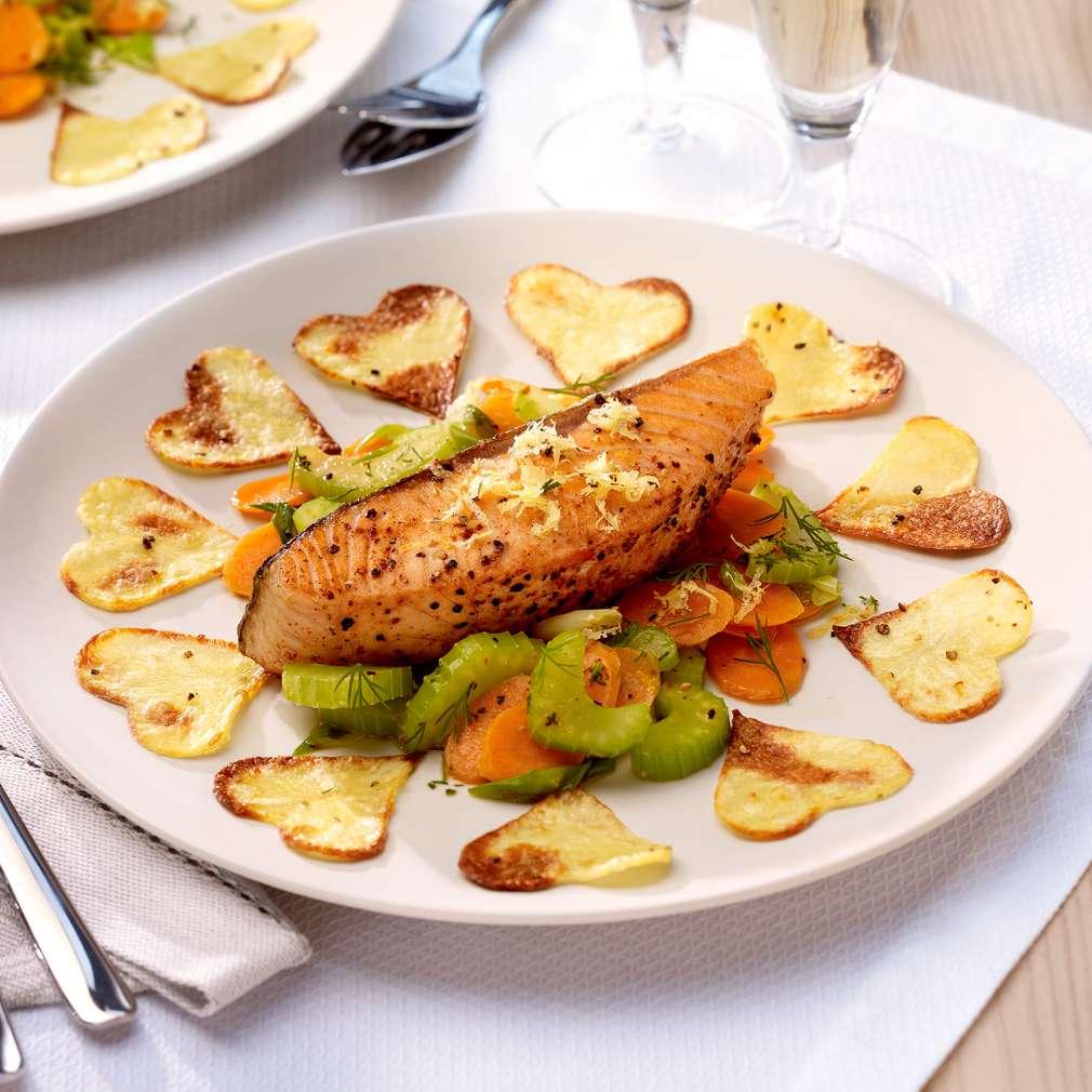 Изобразяване на рецептата Филе от сьомга със зеленчуци