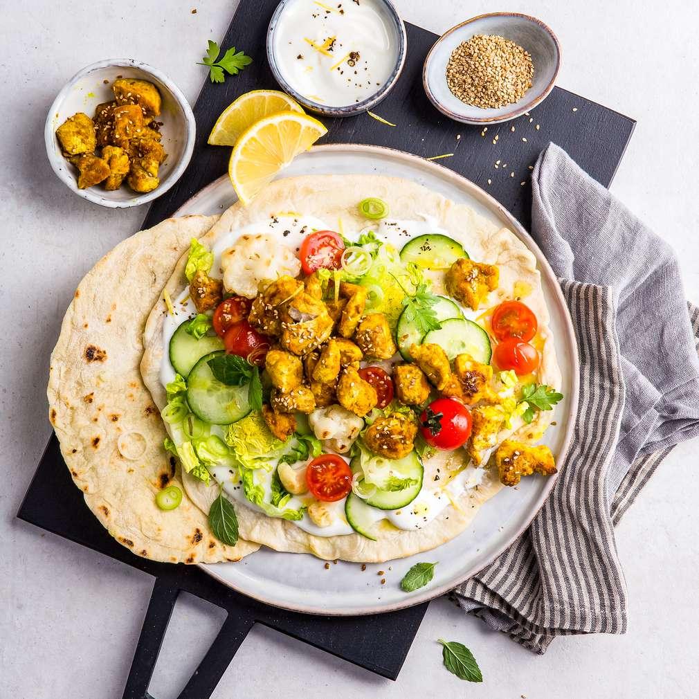 Imaginea rețetei Șaorma vegană cu tofu și conopidă