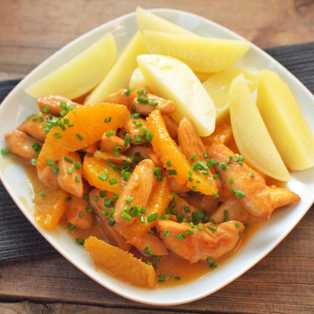 Zobrazit Kuřecí nudličky s pomeranči receptů
