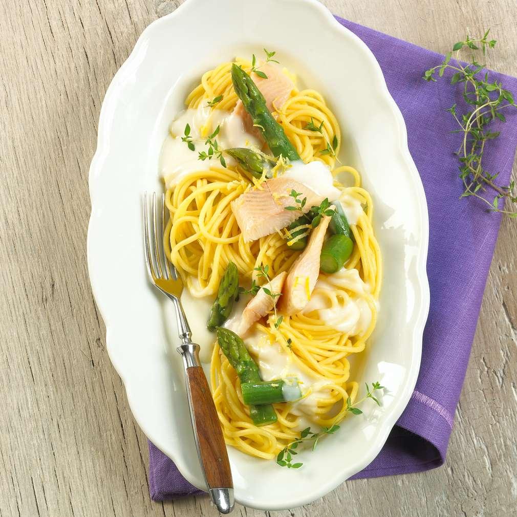 Abbildung des Rezepts Spaghetti mit Forellen-Spargel-Sauce