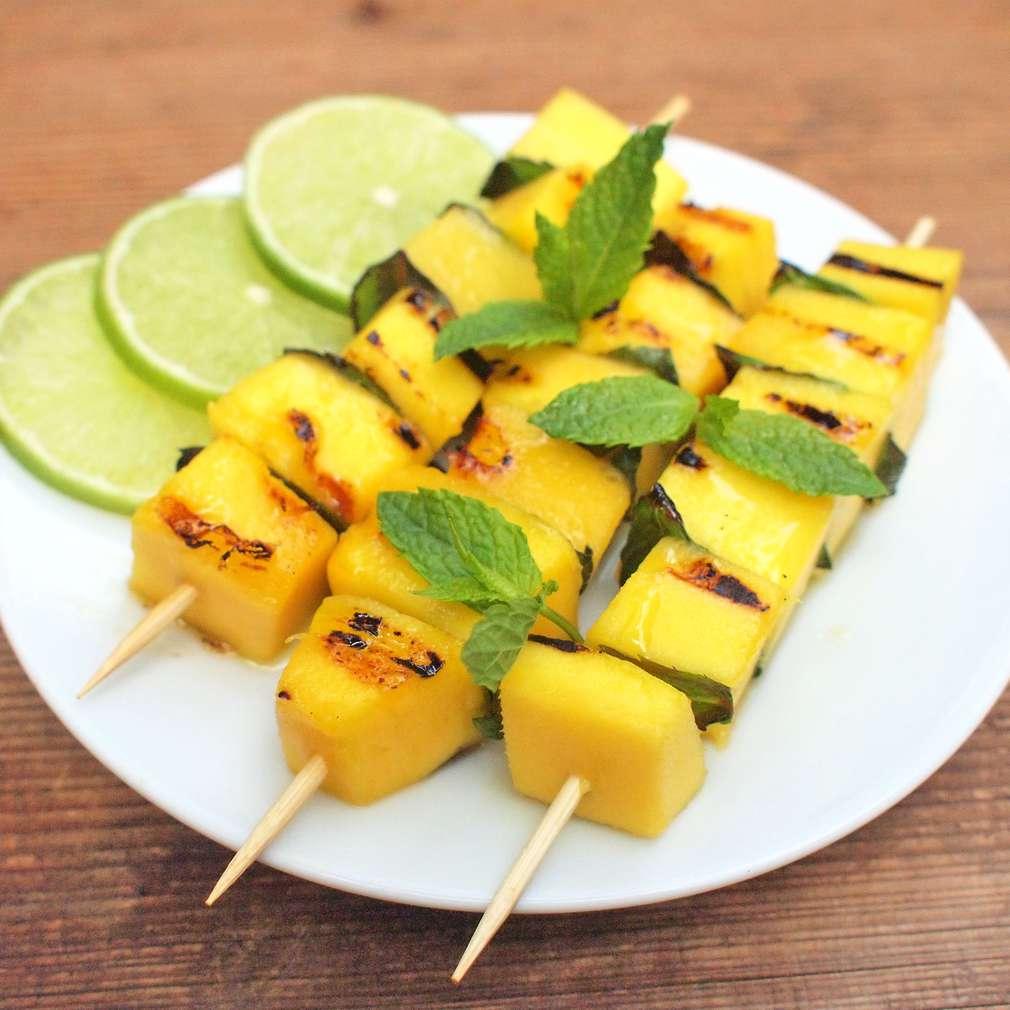 Zobrazit Grilované mango špízky s mátou receptů