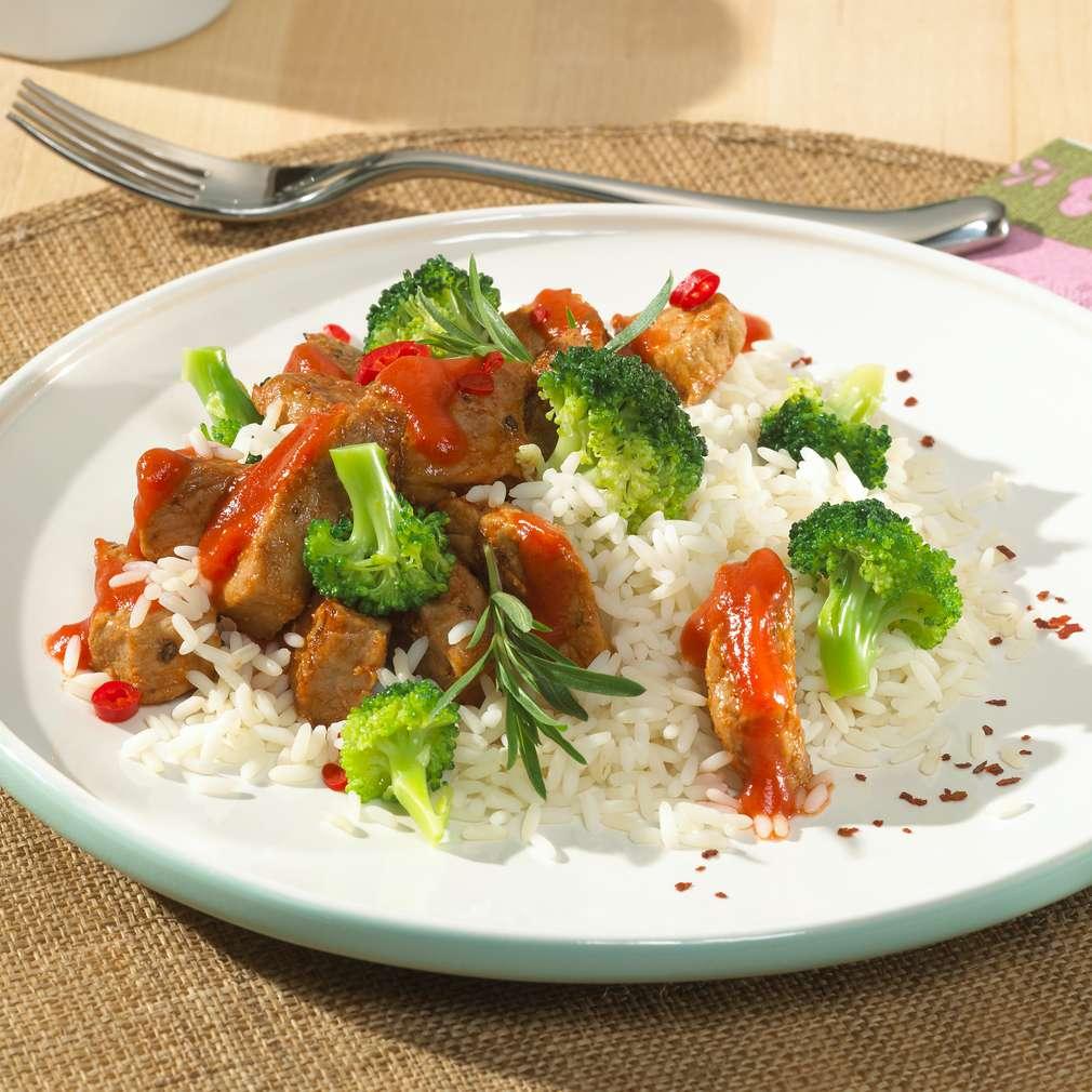 Zobrazit Pikantní rýže s vepřovým masem a brokolicí receptů