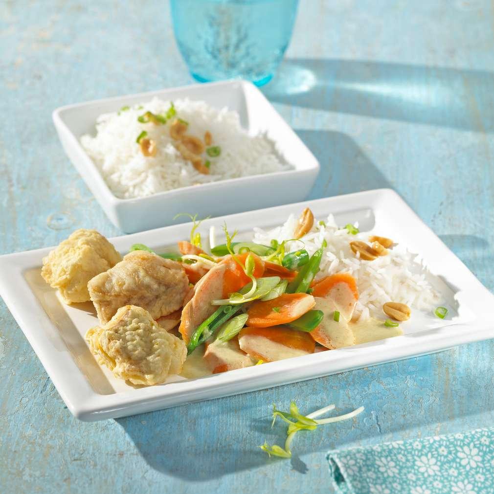 Abbildung des Rezepts Gebackenes Seelachsfilet mit grünem Thai-Curry