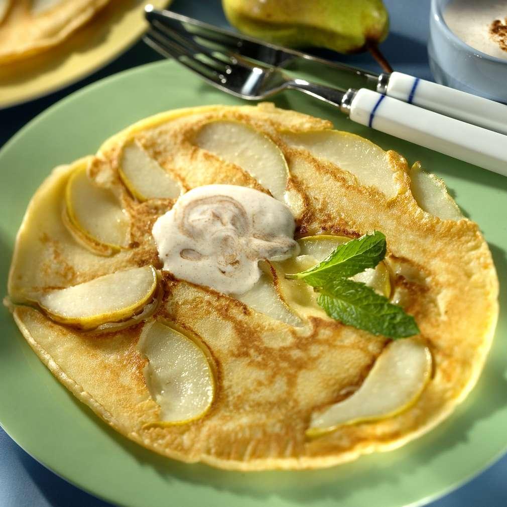 Abbildung des Rezepts Pfannkuchen Helene mit Joghurtcreme