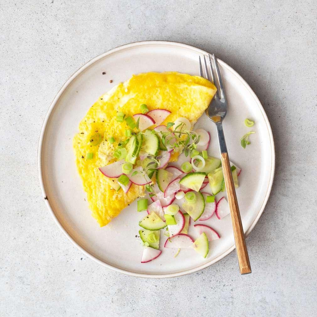 Zobrazit Vaječná omeleta s ředkvičkovým salátem receptů