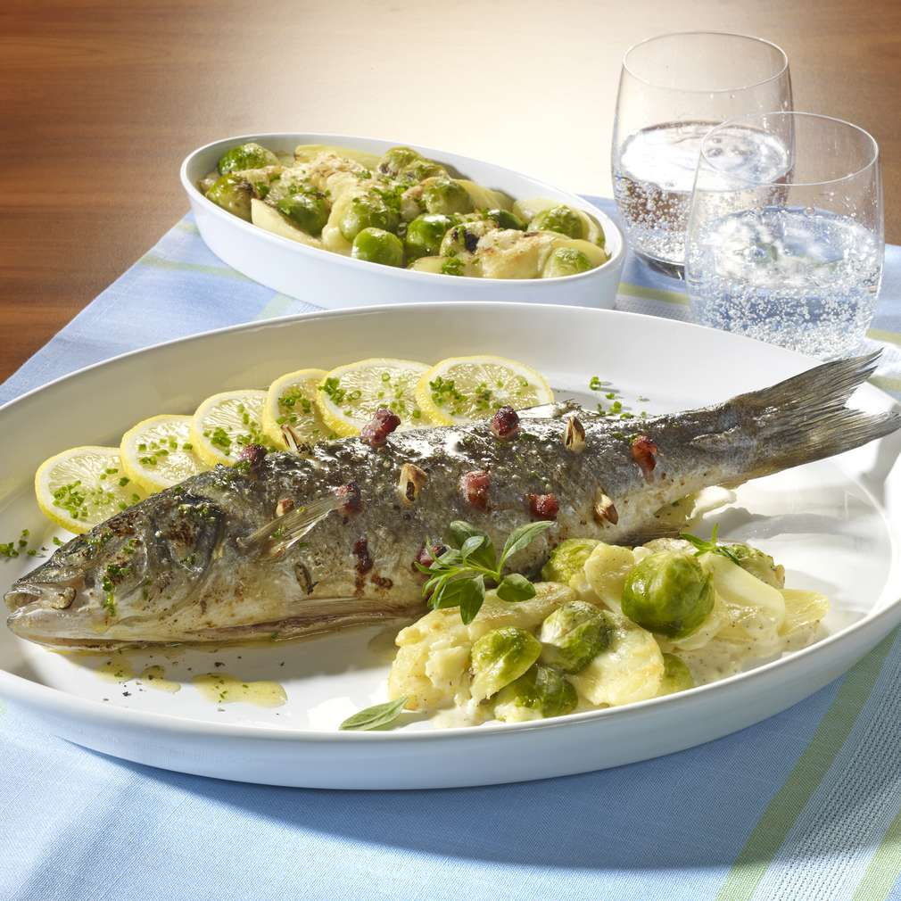 Abbildung des Rezepts Loup de mer mit Rosenkohl-Kartoffelgratin