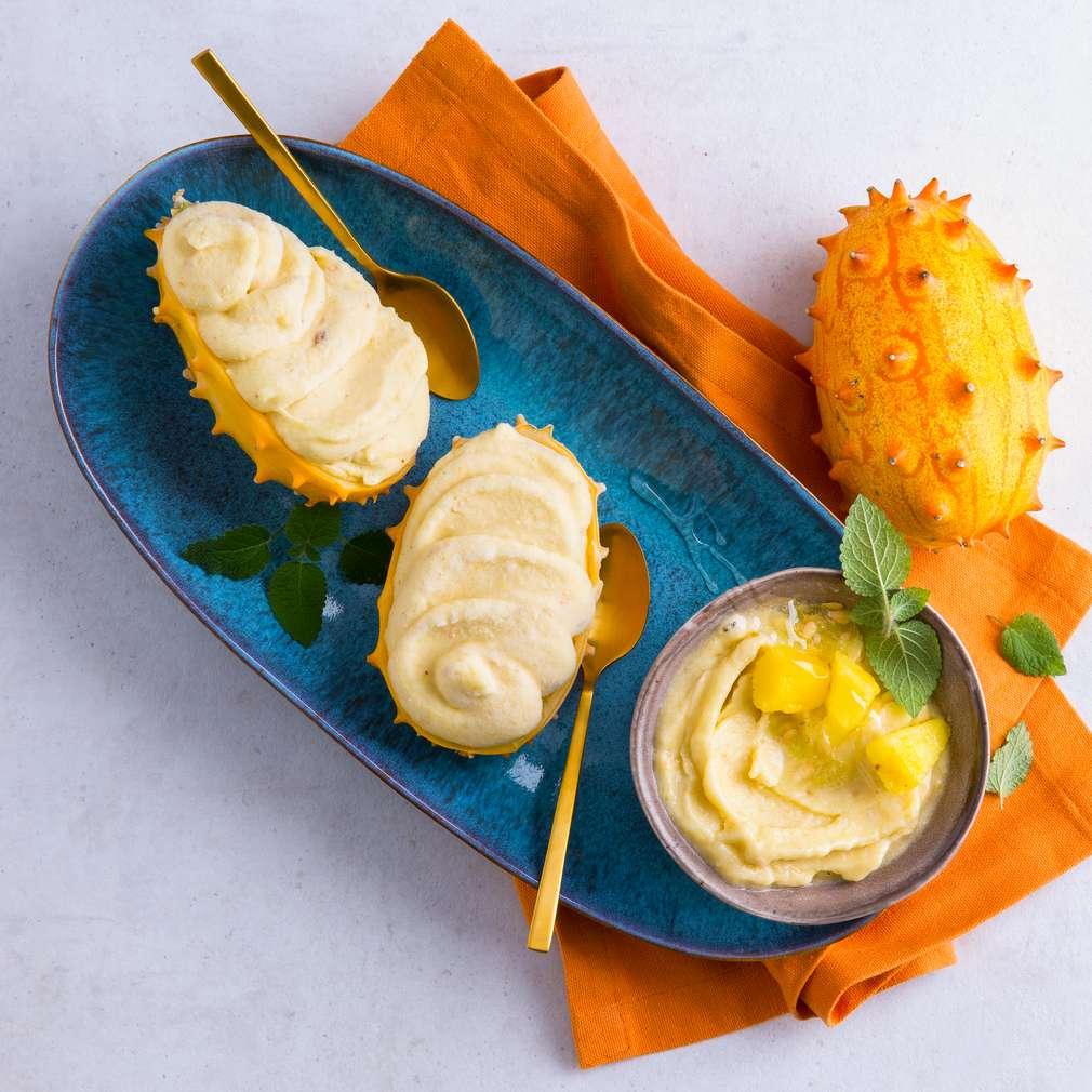 Abbildung des Rezepts Kiwano-Bananen-Ananas-Sorbet