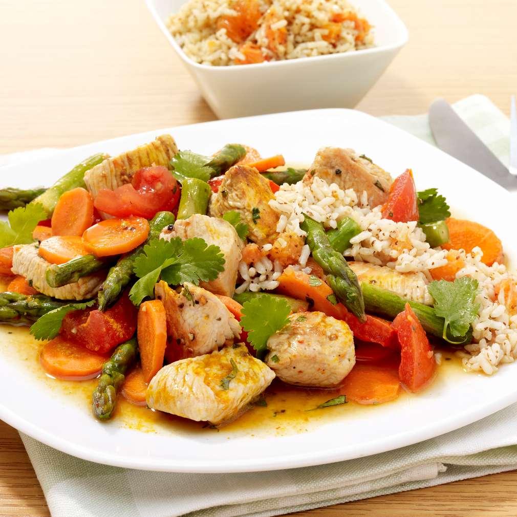 Zobrazit Krůtí kostky s chřestem a pomerančovou rýží receptů