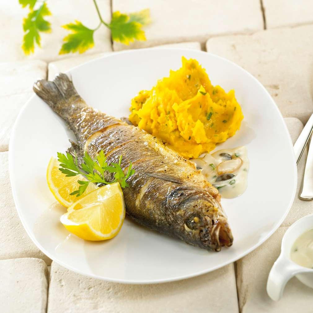 Abbildung des Rezepts Loup de mer mit Kürbis-Kartoffelpüree