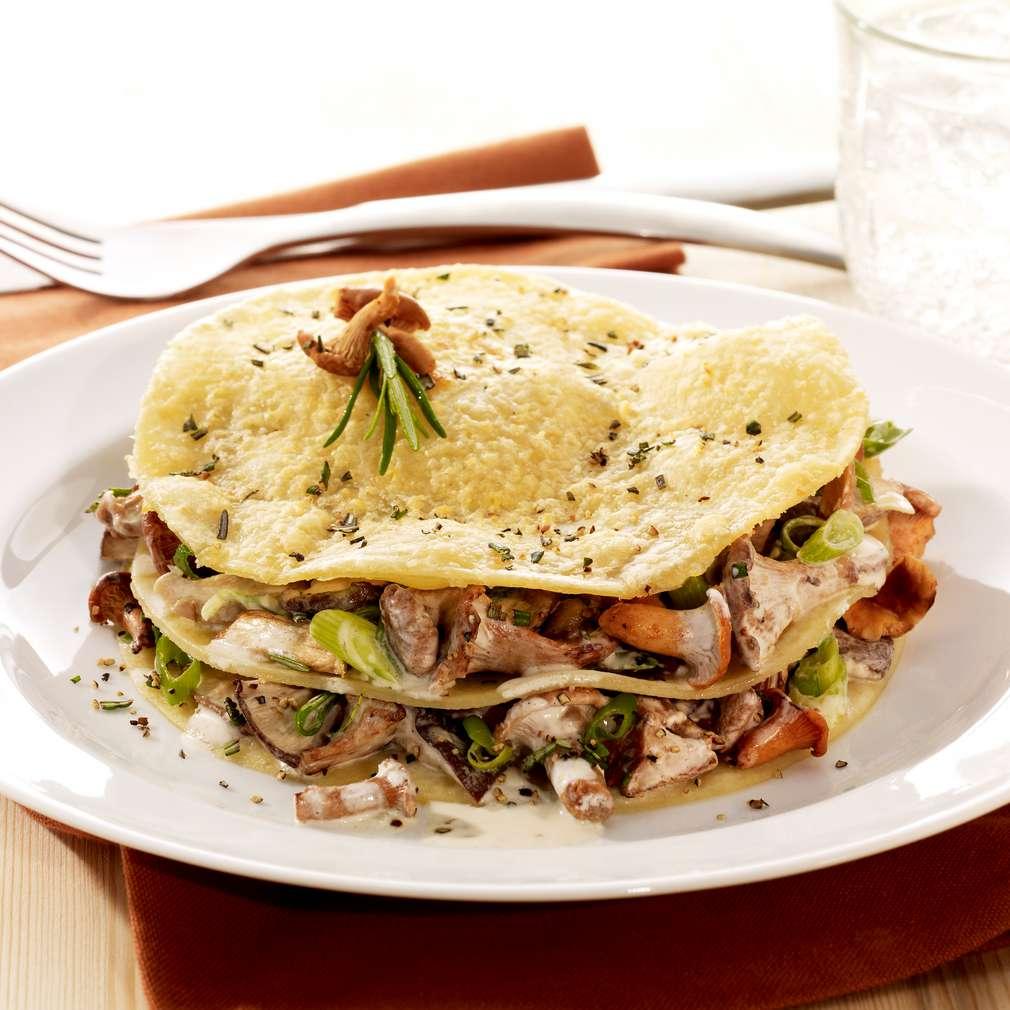Zobrazit Rychlé krupicové lasagne s čerstvými hříbky receptů