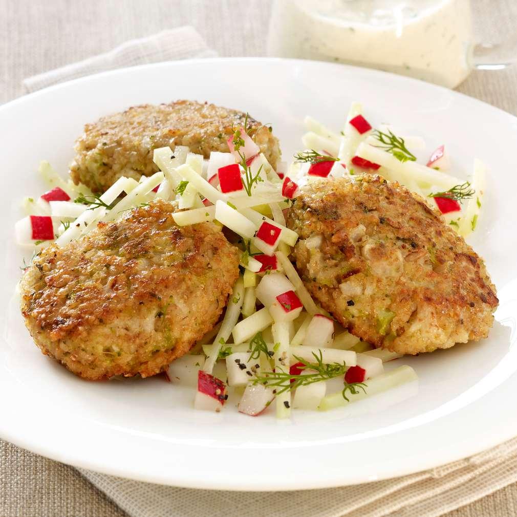 Zobrazit Zeleninové karbanátky s kedlubnovým salátem receptů