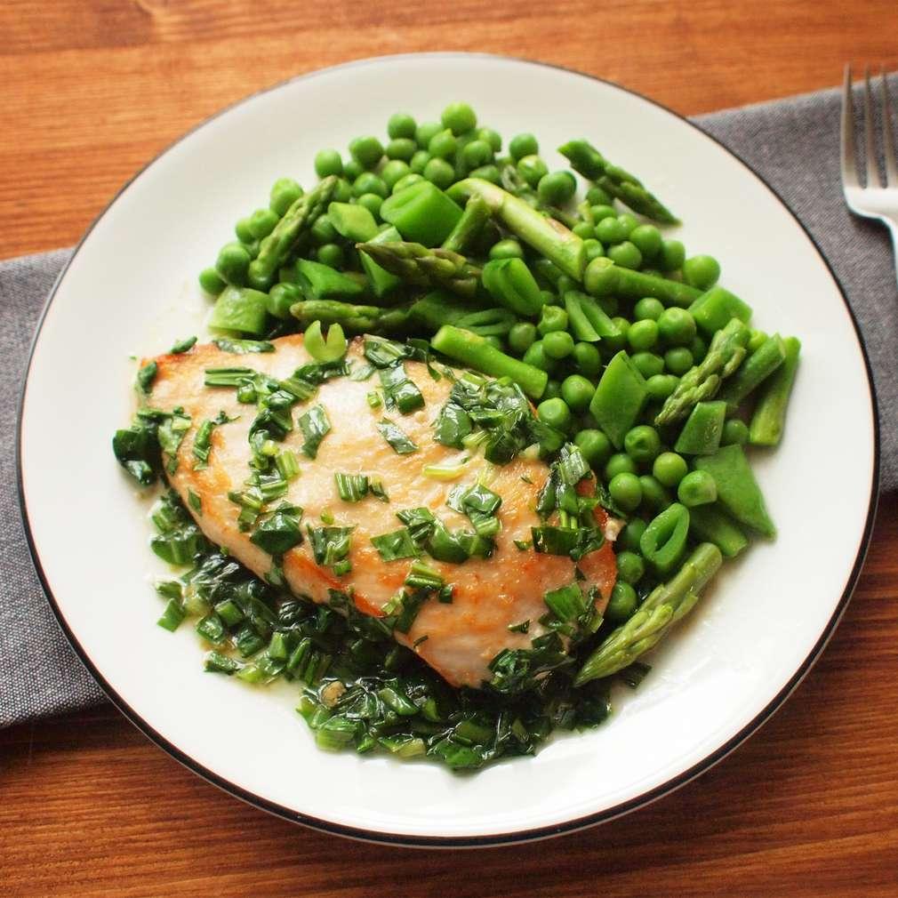 Zobrazit Přírodní kuřecí řízky s jarní zeleninou receptů