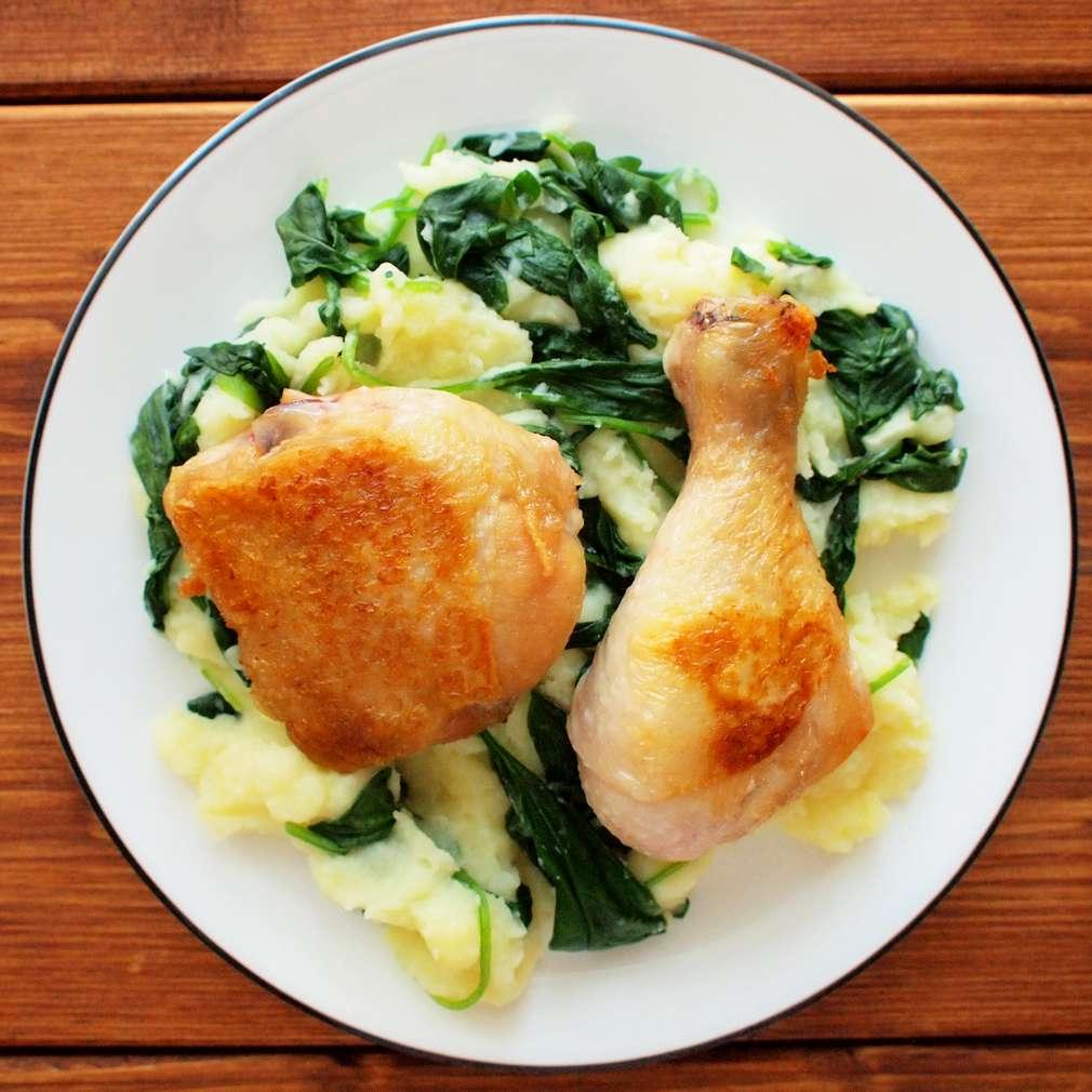 Zobrazit Pečené kuře se špenátovou kaší receptů
