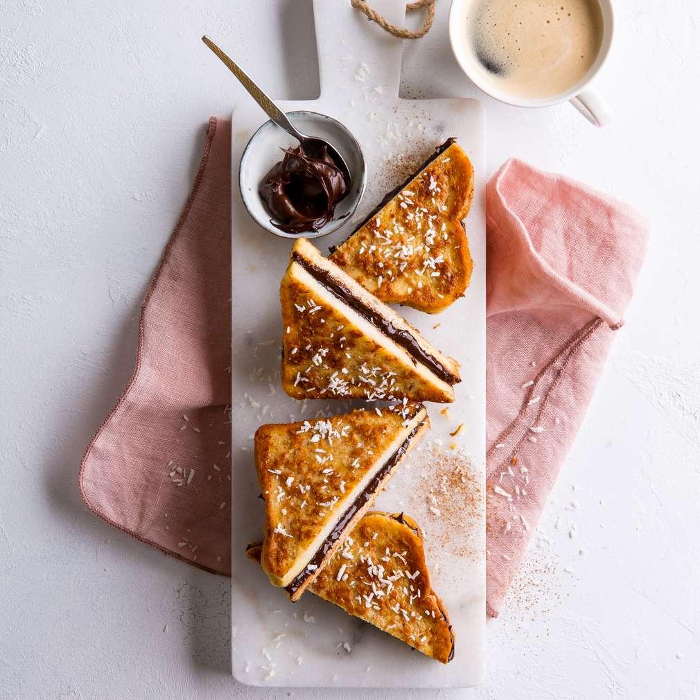 Abbildung des Rezepts French Toast mit Kokosraspel und Schokocreme