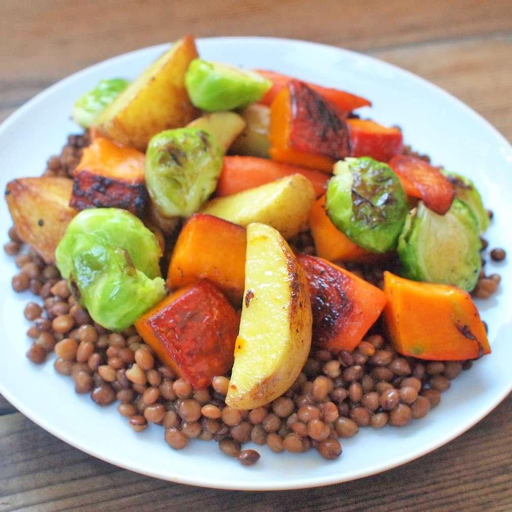Zobrazit Pečená zelenina s čočkou receptů