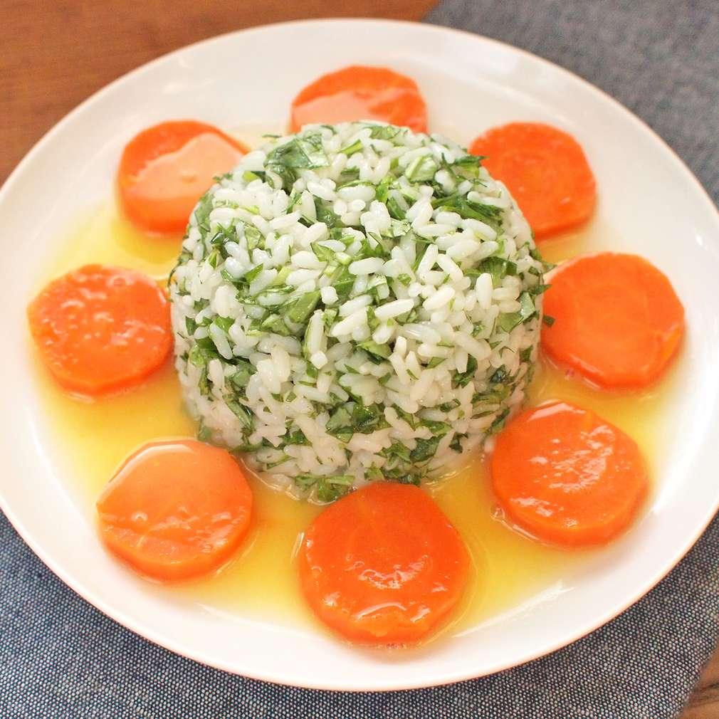 Zobrazit Mrkvové penízky s bylinkovou rýží receptů