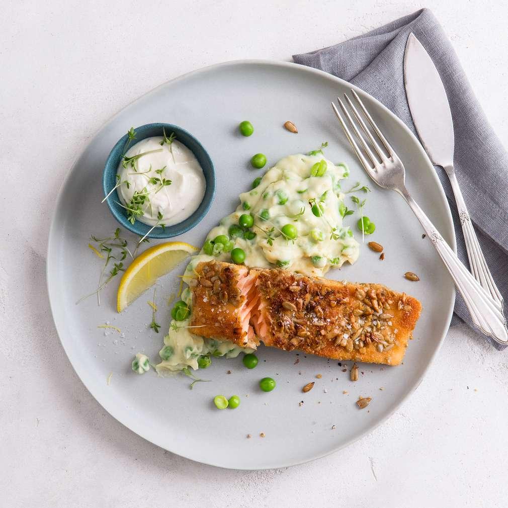 Zobrazit Křupavý losos s bramborovo-hráškovou kaší receptů