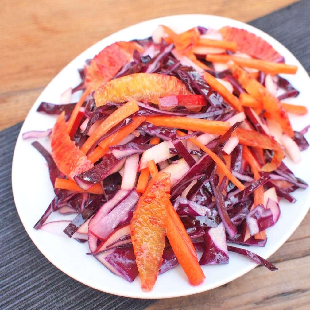 Zobrazit Zelný salát s krvavým pomerančem receptů