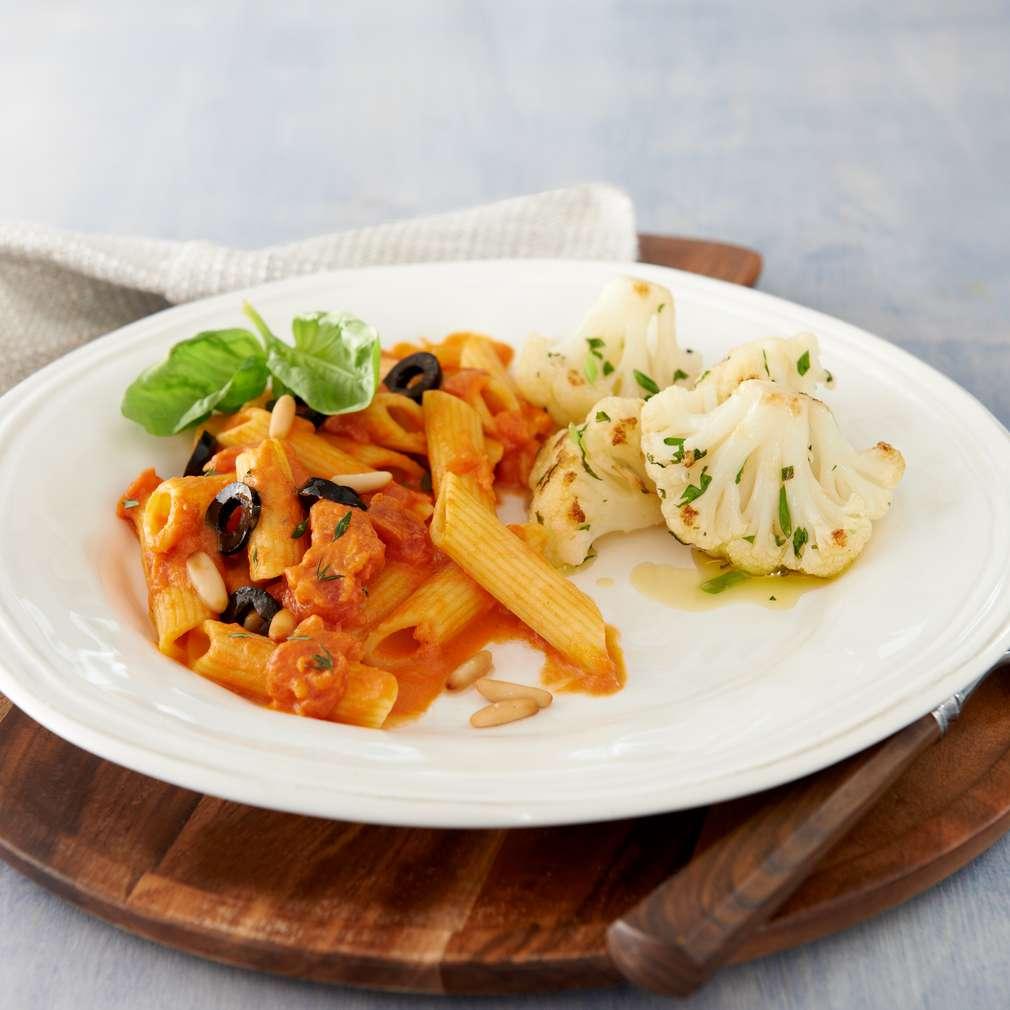 Abbildung des Rezepts Gebratener Blumenkohl mit Tomaten-Pasta