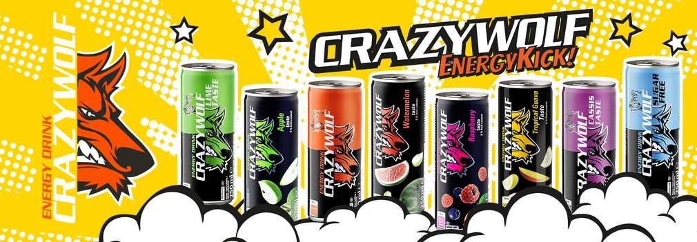 Crazy Wolf Logo mit einer Abbildung der verschiedenen Crazy Wolf Sorten