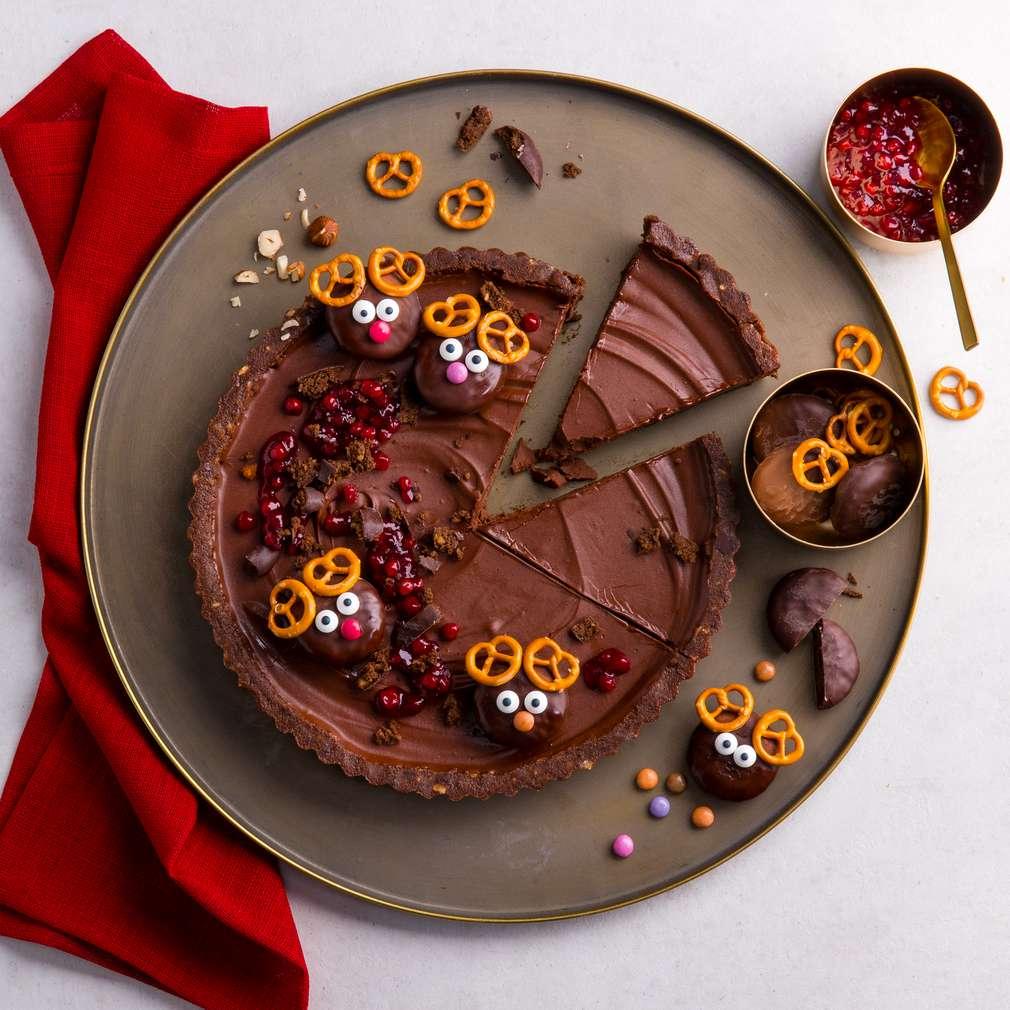 Tartă cu ciocolată și turtă dulce fără coacere