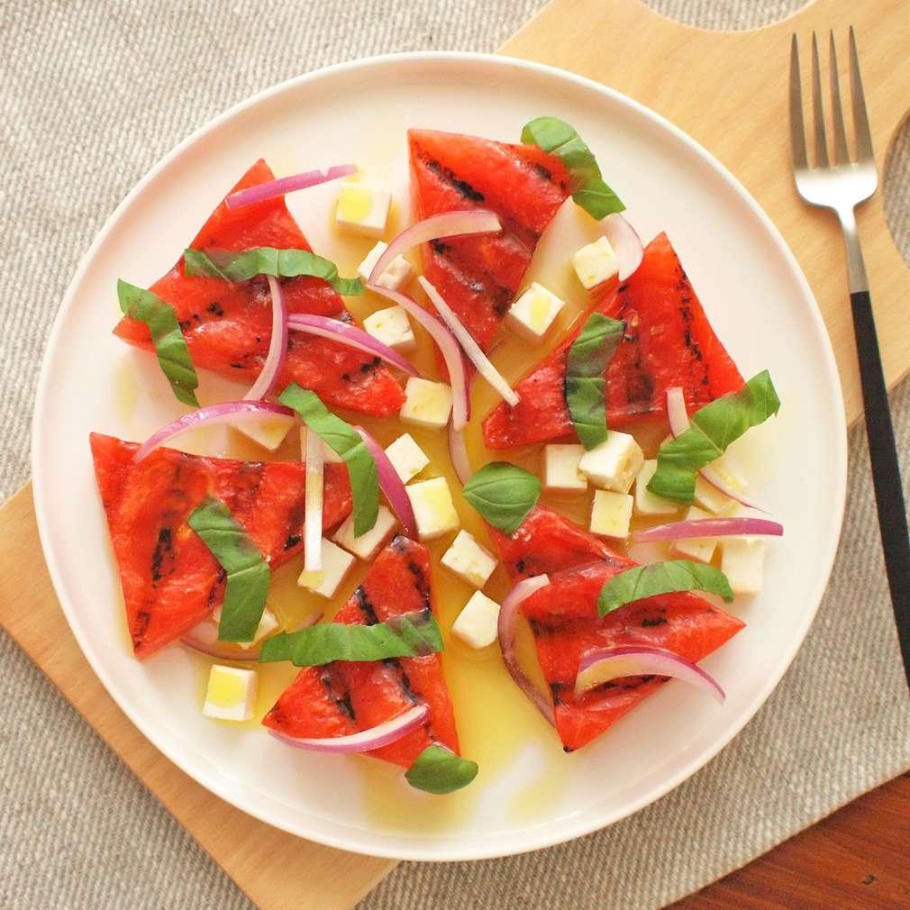 Zobrazit Grilovaný meloun s fetou receptů