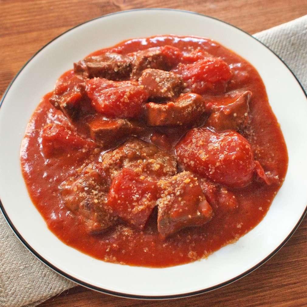 Zobrazit Dušené hovězí s rajčaty receptů