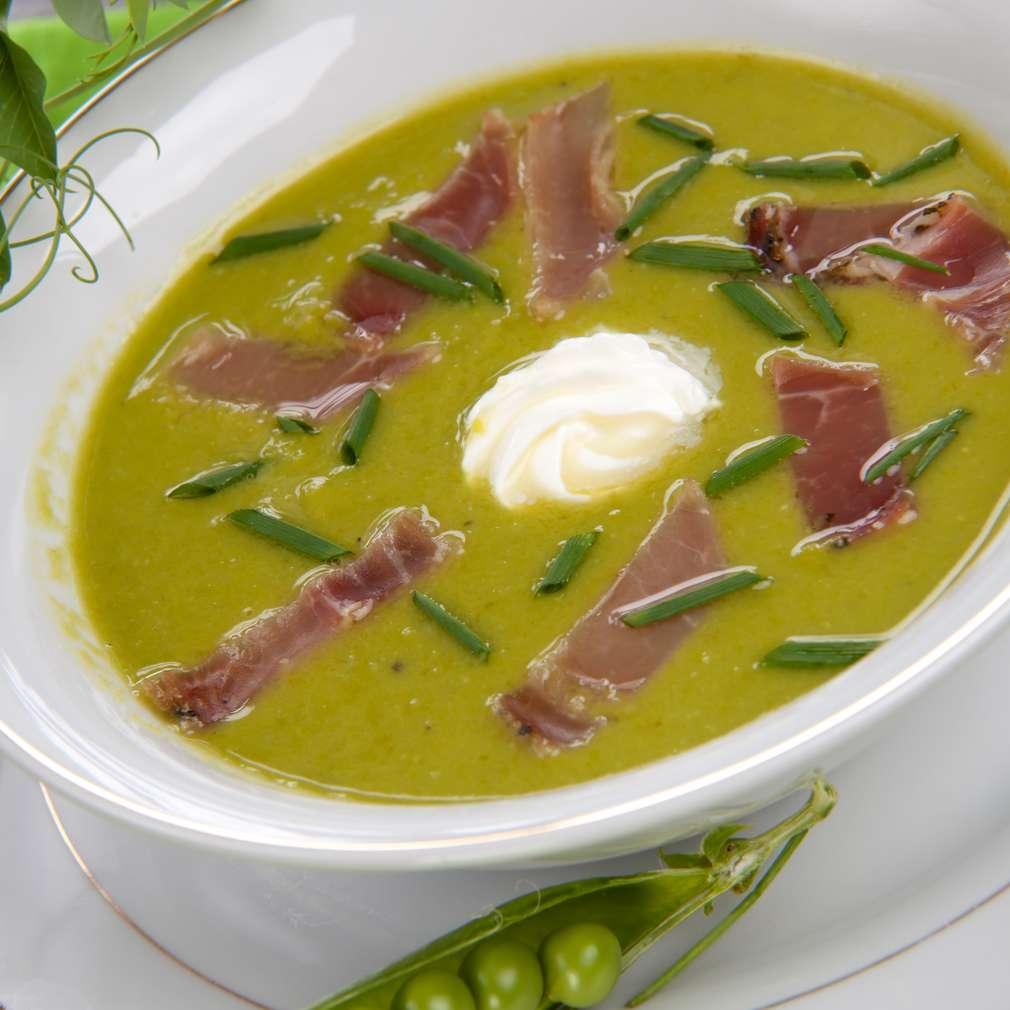 Imaginea rețetei Supă cremă de mazăre cu prosciutto