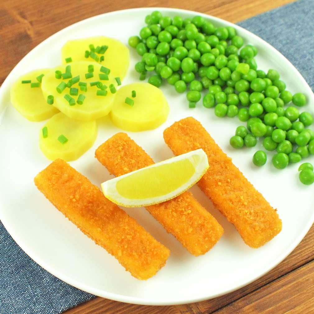 Zobrazit Smažené rybí prsty s hráškem receptů