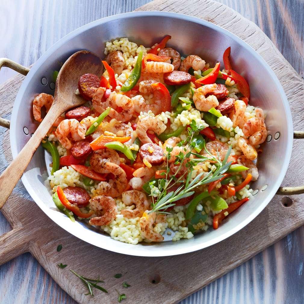 Abbildung des Rezepts Paella mit Garnelen und Chorizo